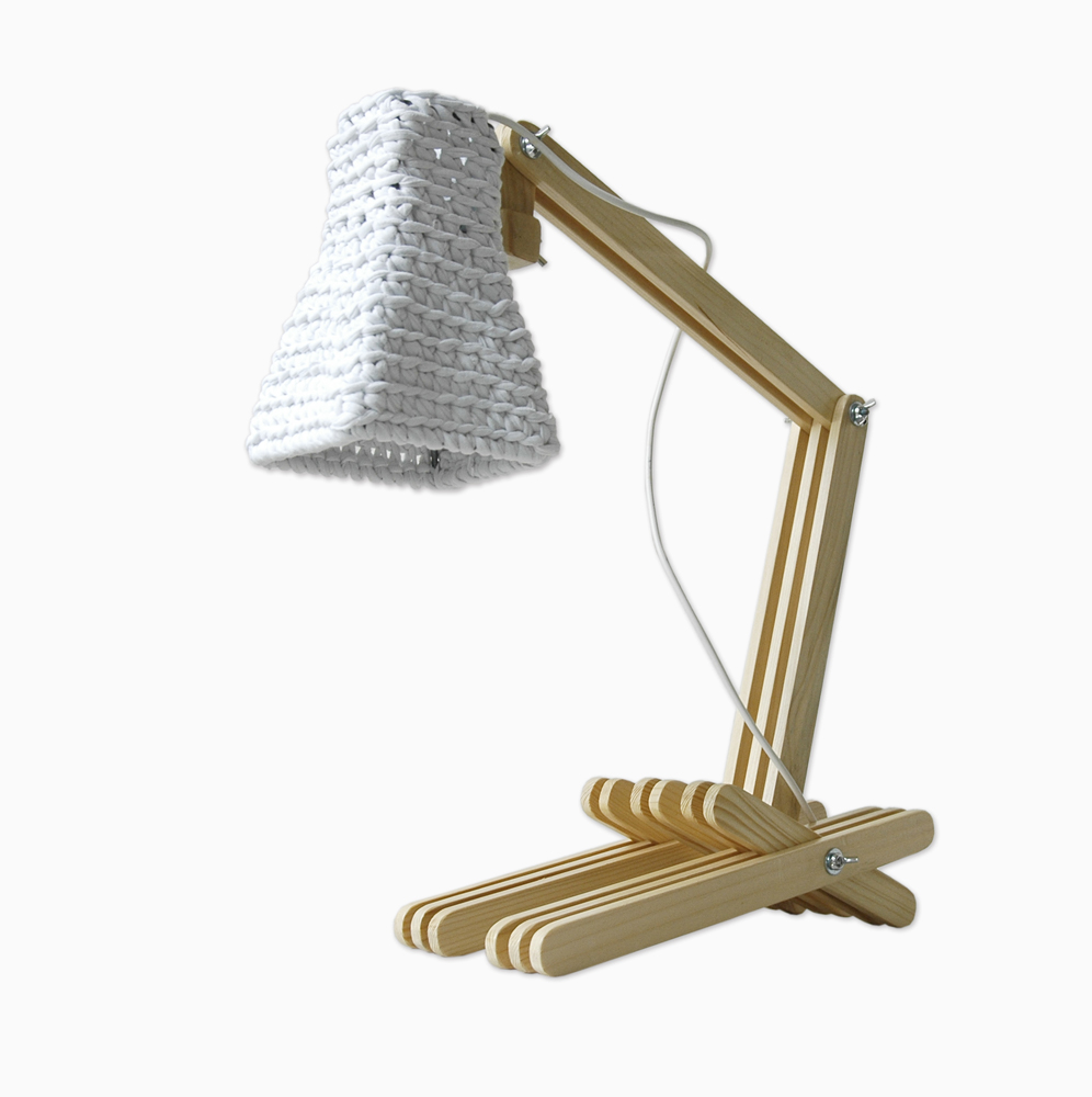 Fashionable. Unique. Wooden table lamp with crocheted shade .